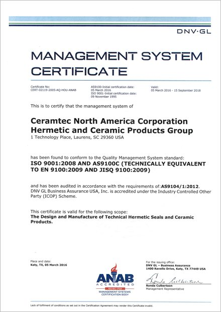CeramTec North America Obtains AS9100 Certification – A message from ...